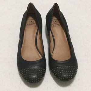 Lucky Brand Black Leather Low Wedge Studded Shoes